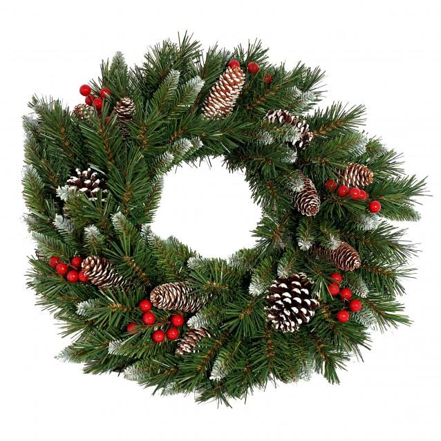 Coronita de brad Frosted Berry, verde, 60 cm - SIMONA'S Christmas